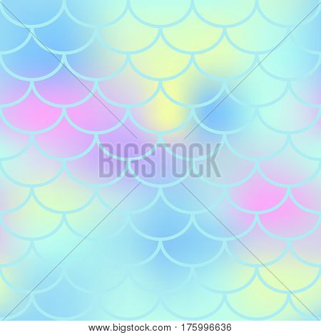 Aqua fish scale vector seamless pattern. Magic Mermaid texture or background square swatch. Marshmallow colors gradient mesh. Mermaid pattern or decor element. Fish skin Mermaid tail decor element