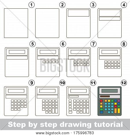 Funny drawing kid school, the vector kid educational game to develop drawing skill with easy game level for preschool kids education, drawing tutorial for Calculator.