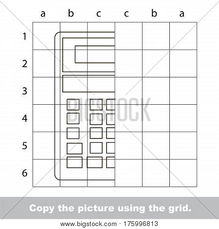 Vector kid educational game with easy game level for preschool kids education, finish the simmetry picture using grid sells, the funny drawing kid school, the drawing tutorial for half Calculator