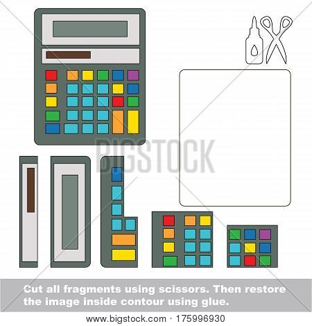Use scissors and glue and restore the picture inside the contour. Easy educational paper game for kids. Simple kid application with Calculator.