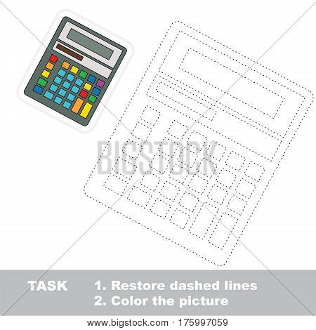 Calculator to be traced, the tracing worksheet to educate preschool kids with easy kid educational gaming and primary education of simple game level.