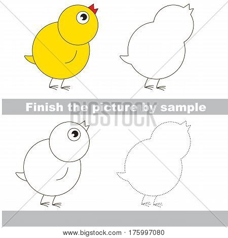 Drawing worksheet for children. Easy educational kid game. Simple level of difficulty. Finish the picture and draw the cute Small Yellow Chicken