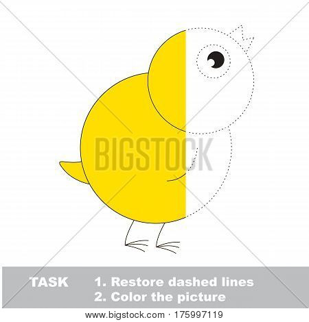 Small chicken in vector to be traced, restore dashed line and color the picture. Simple visual game with easy education game level, educational worksheet for preschool kids.