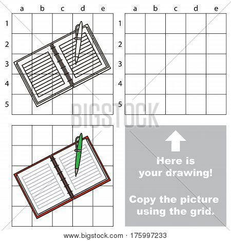 Copy the picture using grid lines, the simple educational game for preschool children education with easy game level, the kid drawing game with Copybook.