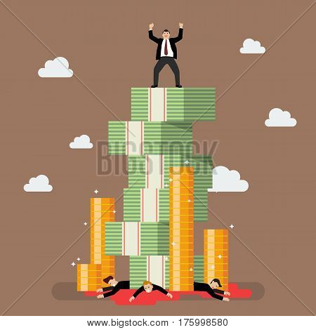 Success businessman standing over her enemy. Business concept