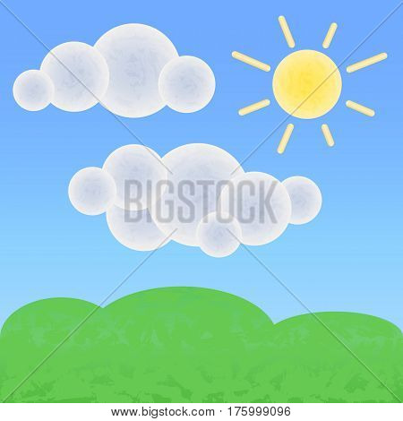 Peaceful land with clouds and sun. Optimistic summer landscape with textures. Natural banner template. Green hills vector illustration. Good day and sunny weather nursery art. Cartoon landscape