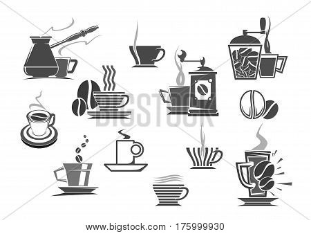 Coffee makers, mill grinders and brew pots vector icons of espresso or cappuccino cup, hot moka steam or cold frappe mug. Emblems of cezve jug and roasted coffee beans for cafe or cafeteria sign