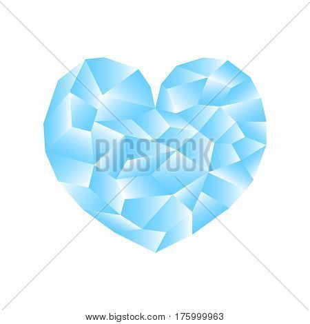 Polygonal heart vector illustration. Blue heart icon on white background square image. Valentine Day card or banner template. Low Poly Heart with shiny diamond effect. Gay love and romance blue symbol