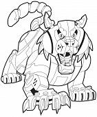 Vector cartoon clip art illustration of a mechanical robot bobcat or wildcat mascot stalking its prey. This cat is crouched low with its mouth open and its front claws are out. Body parts in layers. poster