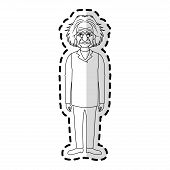 albert einstein icon image sticker vector illustration design poster