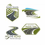 Travel agency and road tourism vector icons. Emblems set of highway, motorway lane or expressway drives and directions for car trip journey or bus travel adventure tour company poster