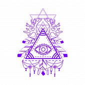 All-seeing eye pyramid symbol. Old school tattoo. Mystic sign of alchemy, of Providence, the occult, magic, Freemasonry and the Illuminati. Conspiracy theory. Vector illustration. poster