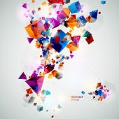 Background of 3d geometric shapes. poster