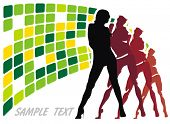 Sexy group elegance silhouettes, composition of dancing girls, Fashion show Collection - Women figures on color background poster