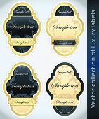 Vintage Labels Collection for a product_2. Sticker template with design elements. Set of blue golden vector illustration tags. poster
