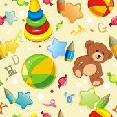 Stylish beautiful baby seamless pattern with toys, vector elegance background. Children's decoration texture. poster