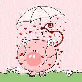 cute pig in rain poster