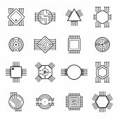 Computer chip icons. Electronic circuit and computer processor signs vector illustration isolated on white background. Cpu to computer, microchip or microprocessor poster