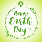 World environment day vector background, save the earth. Happy Earth Day hand lettering globe leaf banner. Green day, eco friendly ecology concept poster