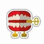 cartoon april fools day chattering teeth vector illustration eps 10 poster