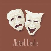 Theater masks for ancient theater vector illustration. Comedy and tragedy pantomime poster