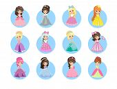 Beautiful cartoon princesses icons set. Cute little girls with diadems on hair and long evening gown isolated flat vectors. Fairytale girls in gorgeous dresses illustrations for kids greeting cards poster