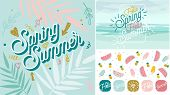 Spring Summer poster, banner in trendy 80s-90s Memphis style. Copper metal and rose gold vector illustration, lettering and colorful design for poster, card, invitation. Easy editable for Your design. poster