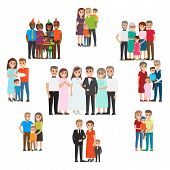 Gathered family for holidays and special events collection on white in flat style. Smiling people celebrating birth of child, wedding with relatives, happy birthday and other family holidays poster
