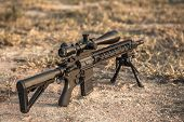 assault rifle 5.56mm with rifle scope for long length poster
