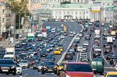 Rows of cars on a congestion street poster