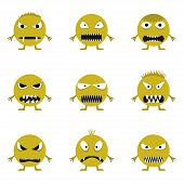 Cute angry evil monster set. Wicked face set poster