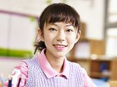 portrait of  an 11-year-old asian elementary schoolgirl poster