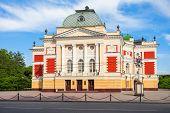 Irkutsk Academic Drama Theater named after N.P. Okhlopkov in the center of Irkutsk Russia. Irkutsk Theater is one of the oldest Russian drama theater. poster