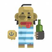 Drunk Alcoholic With Shiner And A Bottle, Revolting Homeless Person, Dreg Of Society, Pixelated Simplified Male Vagabond Character. Scary And Disgusting Outcast Addict Isolated Vector Flat Icon. poster