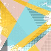 Abstract vector background in trendy retro 80s 90s memphis style. Universal card pastel colors. Retro design fashion art. Modern abstract design poster cover card design. Geometric background in retro 80s-90s style. Memphis trendy art. poster