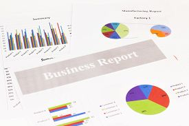 Business report Graph Calculations savings finances and economy concept.
