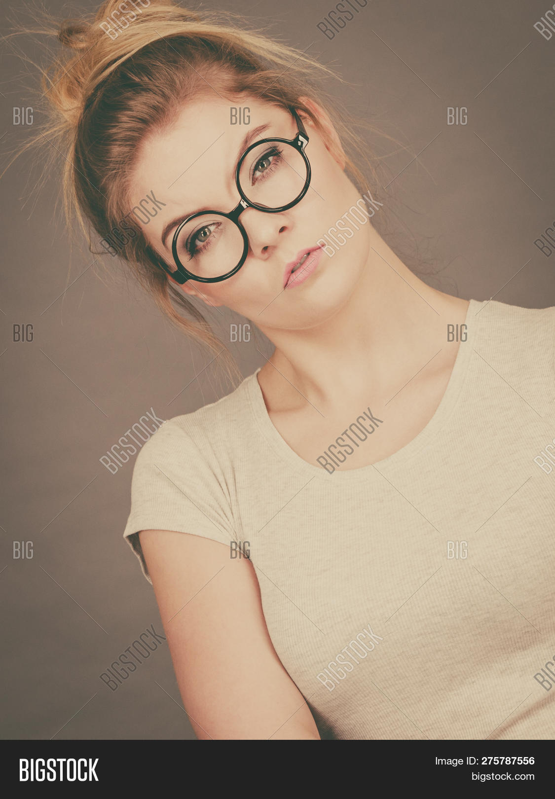 Blonde teen nerdy glasses interesting