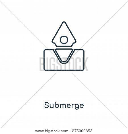 Submerge Icon In Trendy Design Style. Submerge Icon Isolated On White Background. Submerge Vector Ic