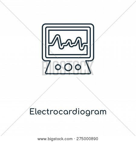 Electrocardiogram Icon In Trendy Design Style. Electrocardiogram Icon Isolated On White Background.