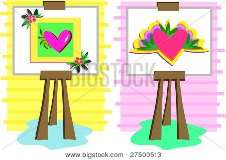 Two Heart Paintings on Easels