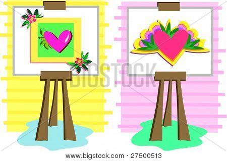 在画架上的两个心画。
