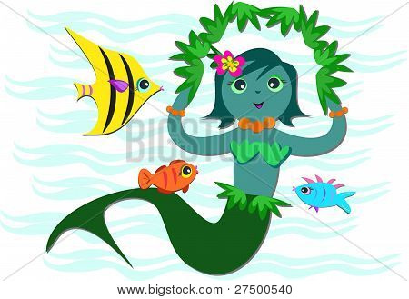 This Blue Mermaid loves to play with her marine friends. poster