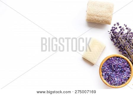 Spa Set With Lavender Spa Salt. Purple Spa Salt Near Dry Lavender Branches And Washcloth On White Ba