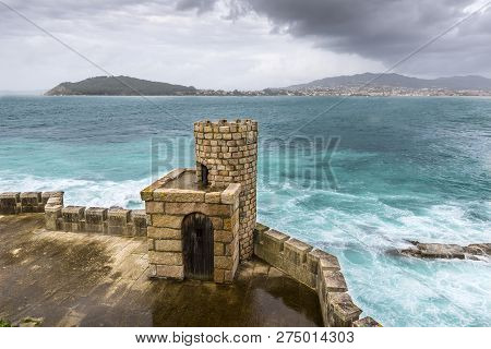 Defensive Tower Of The Monterreal Fortress, In Baiona, Galicia, Spain. The Walled Precinted Was Buil