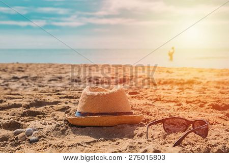 Close Up Portrait Of Smiling Little Boy Playing On The Beach