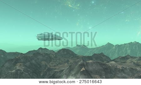 3d Illustration Of  Alien World In Space With Nebula And Stars.spacecraft In The Alien Planet, .spac