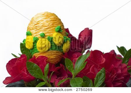 easter decoration - egg on flower meadow poster