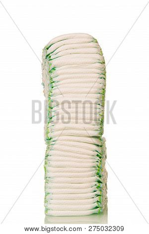 High Stack Of Disposable Baby Diapers Isolated On A White Background