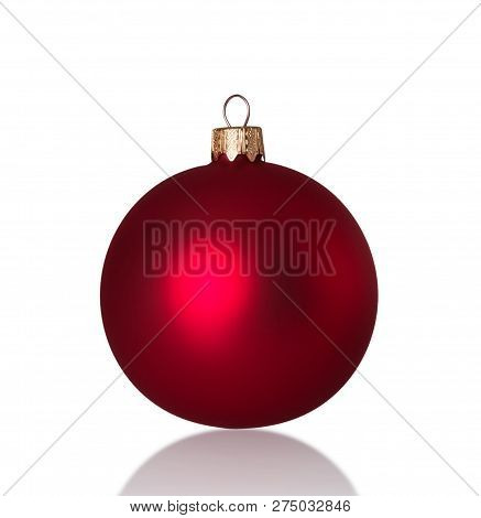 Bright Beautiful Red Christmas And New Year Ball Isolated On White Background