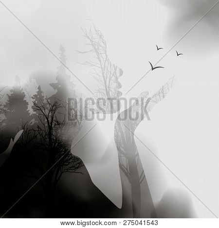 Abstract Woman Face Silhouette. Ink Effect Forest Background.vector Double Exposure Illustration.wom